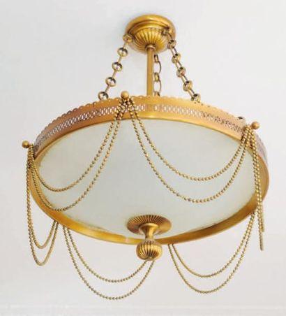 Lustre circulaire en métal doré, vasque en...