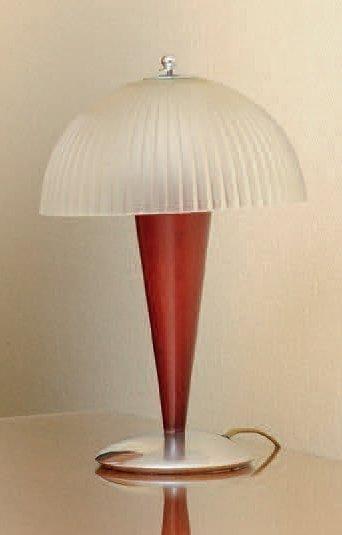 Lampe à poser Lucien Gau en bois, métal chromé...