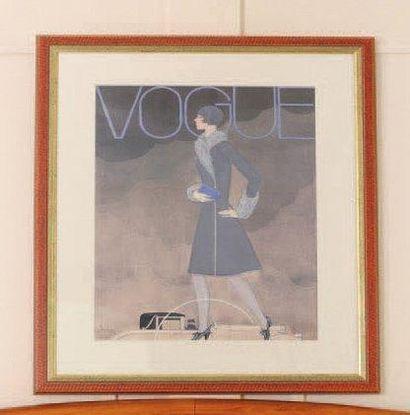 Pièce encadrée d'une affiche Vogue. H_74,5...