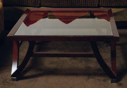 Table basse carrée en bois sombre et plateau...