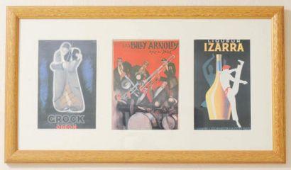Trois reproductions de publicités encadrées...