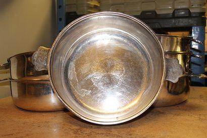 6 légumiers à oreilles en métal argenté ...