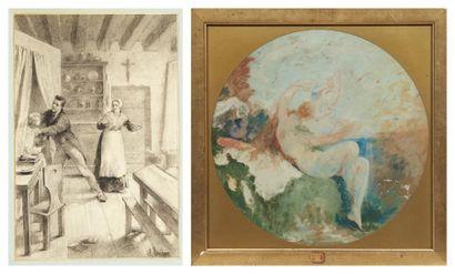 Lot de deux dessins EMILE BOILVIN (METZ 1815-PARIS 1899)