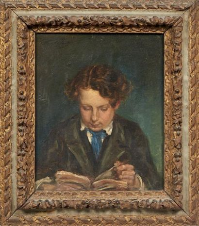 Paul HUET (1803-1869) Portrait de son fils à l'âge de 15 ans Panneau parqueté. Signé...