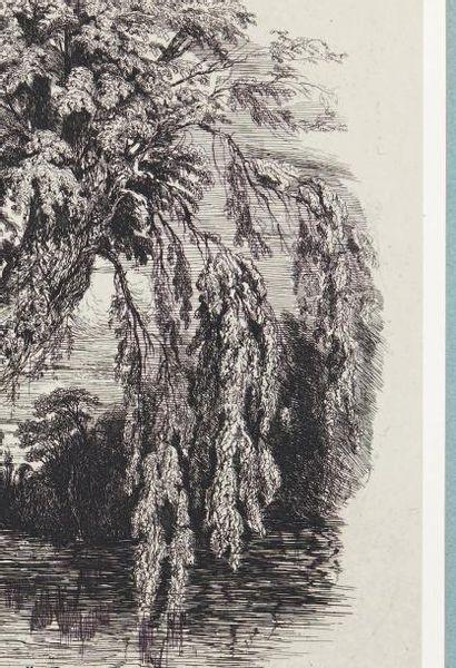 Paul HUET (1803-1869) Cahier des six eaux-fortes: série complète titre et six planches....