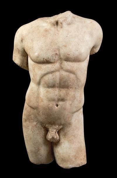 LE DORYPHORE. Torse de statue représentant...