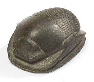 SCARABÉE DE COEUR. Amulette représentant un scarabée de coeur anépigraphe, les élytres...