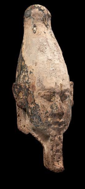 TÊTE D'OSIRIS. Tête de grande statuette d'Osiris....