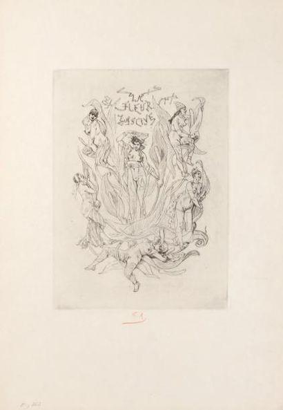 Félicien Rops (1833-1898) La fleur lascive Sur papier Japon. Signé du monogramme...