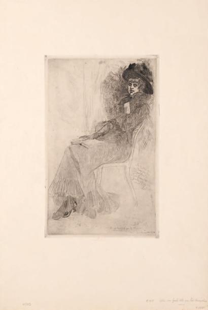 Félicien Rops (1833-1898) Celle qui fait celle qui lit Musset Sur papier Japon. Signé...