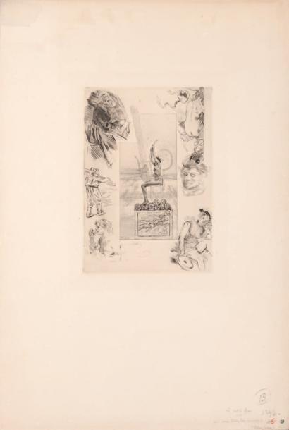 Félicien Rops (1833-1898) La petite lyre Signé du monogramme rouge F.R. H_22,5 cm...