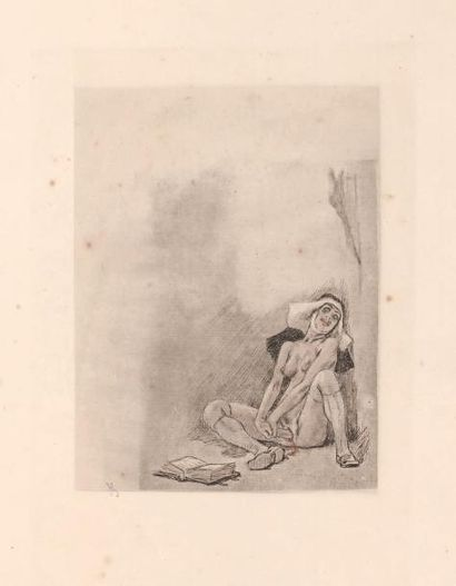 Félicien Rops (1833-1898) Sainte Thérèse Sur papier van Gelder 1er état. Rehaussée...