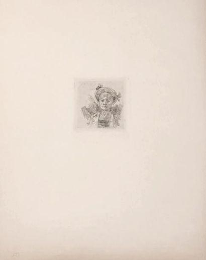 Félicien Rops (1833-1898) Vieux jeu Grandes marges sur papier Japon. H_9,4 cm L_6,5...