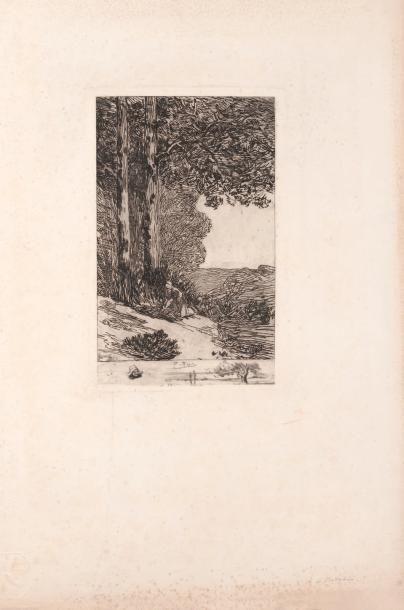 Félicien Rops (1833-1898) La bucheronne Signature F. Rops en rouge. H_28,3 cm L_18,7...