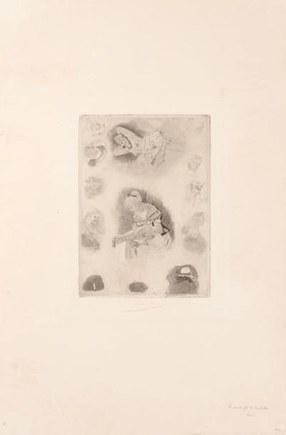 Félicien Rops (1833-1898) La pantoufle de Cendrillon et repos. Signature complète...