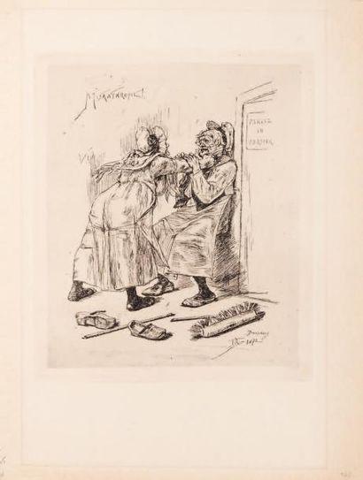 Félicien Rops (1833-1898) Misanthropie Héliographie retouchée à la pointe sèche....
