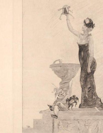 Félicien Rops (1833-1898) La dame au pantin Sur papier Japon Par Bertrand. H_48 cm...
