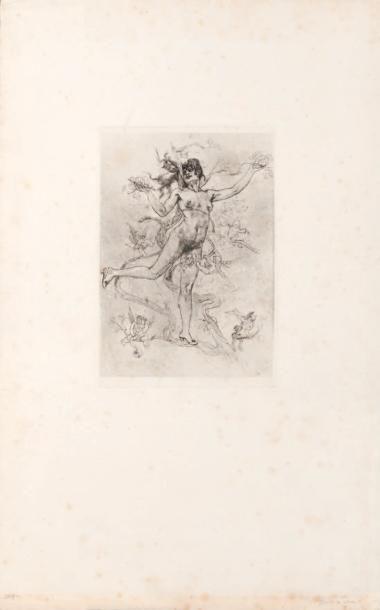 Félicien Rops (1833-1898) Rosaire et Rosière Sur papier Japon H_19 cm L_15 cm - La...