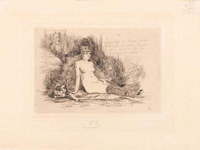 Félicien Rops (1833-1898) La femme à la fourrure assise Sur papier mbm. Signé du...