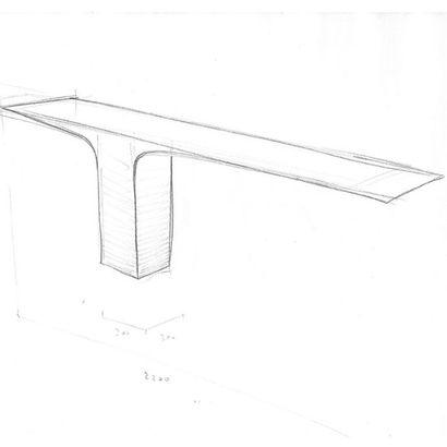POL QUADENS (NÉ EN 1960) Console n°3 «Blade», 2013 Acier inoxydable poli Signée et...
