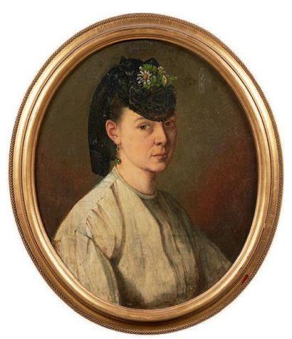 Ecole française fin XIXe siècle Portrait de femme ovale Huile sur toile (réentoilée)....