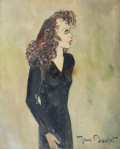 Jean BOULLET (1921-1970) Portrait d'Édith Piaf Huile sur toile. Signée en bas à droite....