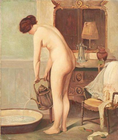 ECOLE FRANÇAISE XXE SIÈCLE La toilette Huile sur toile. H_55 cm L_46 cm