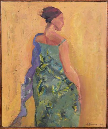 A. ROMANESCK Femme africaine, 2005 Huile sur toile. Signée en bas à droite. H_60...