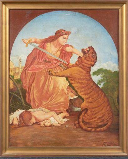 PATÉ Femme terrassant le tigre Belbec, 1900 Huile sur panneau. Signée, située et...