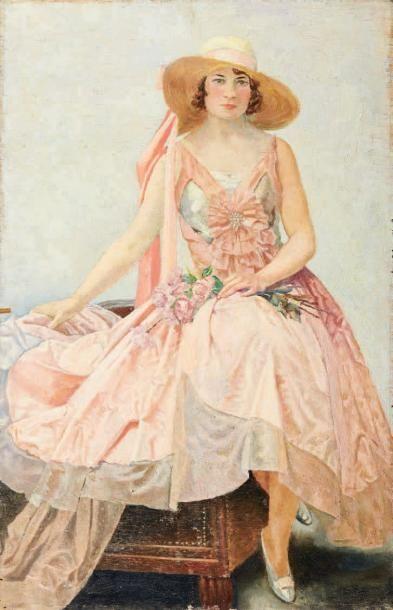Ecole Française vers 1900 Elégante au bouquet de roses Huile sur panneau. H_57 cm...