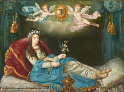 LACCROIR P. Philomena, 1843 Huile sur toile. Signée et datée en bas à gauche. H_100...
