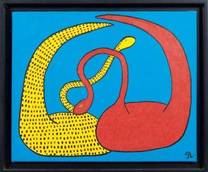 RÉGINE DEFORGES Hommage à Calder N°16, 1993. Huile sur toile. Monogrammée R en bas...