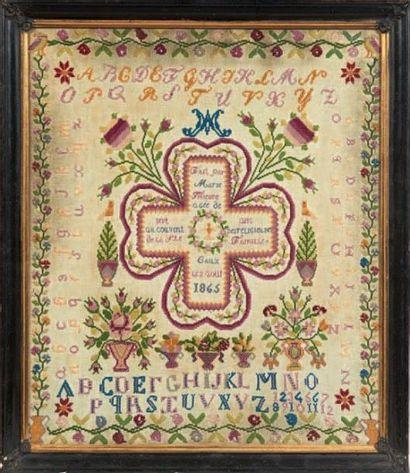 ABÉCÉDAIRE encadré daté 1865 fait par Marie...