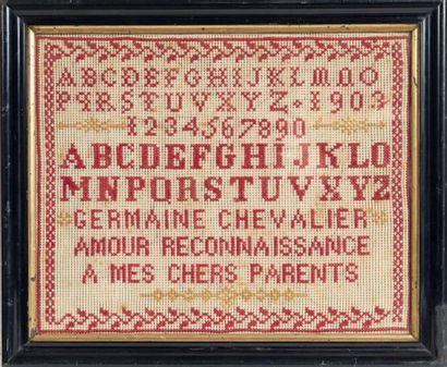 LOT DE TROIS ABÉCÉDAIRES encadrés dont un daté 1903 «A mes chers parents», l'un...