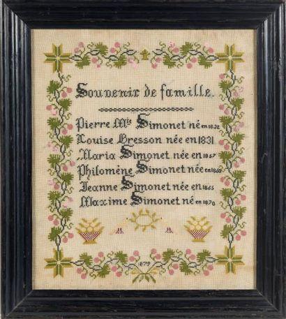 BRODERIE AU POINT DE CROIX encadrée «Souvenir...