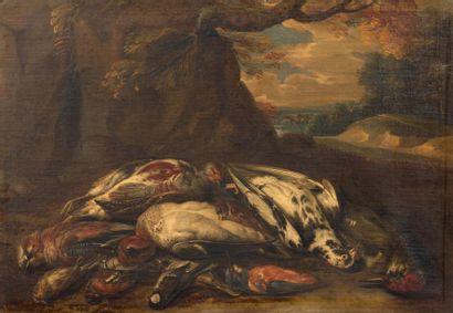 ECOLE HOLLANDAISE VERS 1700, SUIVEUR DE JAN WEENIX Nature morte au gibier Toile....