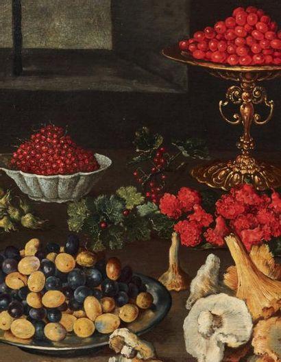 BLAS DE LEDESMA (? VERS 1580-? VERS 1640) Nature morte aux champignons et fruits...
