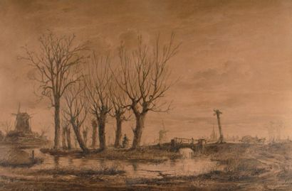 HENDRICKS FRANS SCHAEFELS 1827-1904) Paysage aux moulins Pierre noire et rehauts...