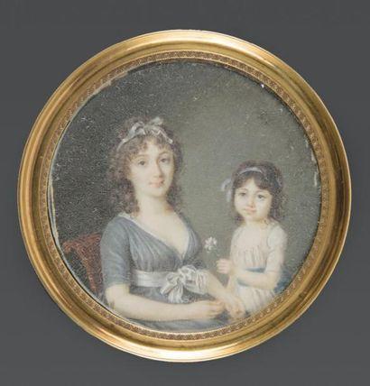 MONMERQUE. ACTIF VERS 1790-1800 Portrait d'une mère et son enfant, assise, en robe...
