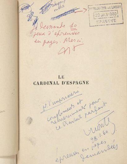 MONTHERLANT (Henry de) Le Cardinal d'Espagne. [Paris, janvier - février 1960]. In-8,...