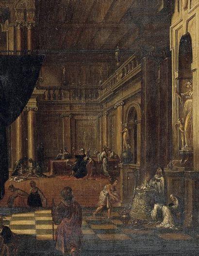 HANS JURRIAENSZ. VAN BADEN (STEINBACH 1604-1677) Scène de sacrifice dans une architecture...