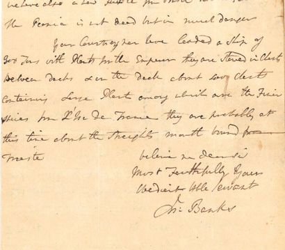 BANKS, Sir Joseph. 1743-1820. Naturaliste...