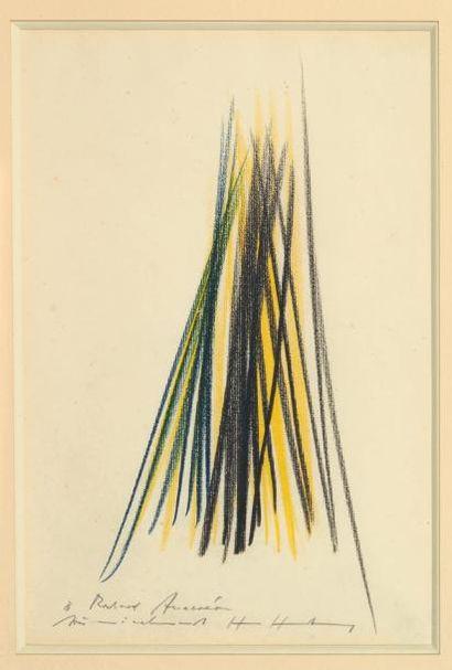 Hans HARTUNG (1904-1989) Composition abstraite Fusain et crayon gras de couleurs...