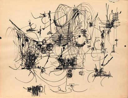 Georges MATHIEU (1921-2012) Essais, ca 1955 Encre noire sur papier - double face....