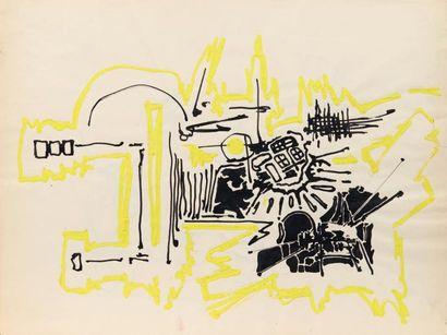 Georges MATHIEU (1921-2012) Composition, ca 1955 Acrylique jaune et encre noire sur...