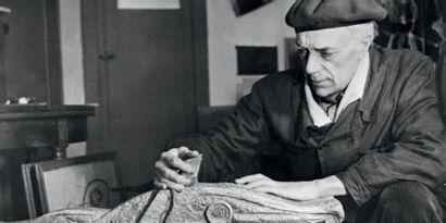 Georges BRAQUE (1882-1963) Composition, 1956 Gouache blanche sur papier journal....
