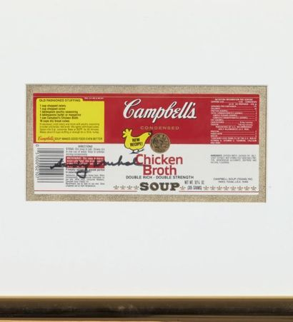 Andy Warhol (1928-1987) Campbell's chicken broth Signature au feutre sur offset....