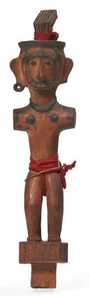 FÉTICHE anthropomorphe en bois sans bras,...