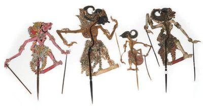 LOT composé de quatre marionnettes Wayan-Kulit...