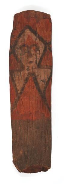 RARISSIME PLANCHE TABOU en bois peinte à...